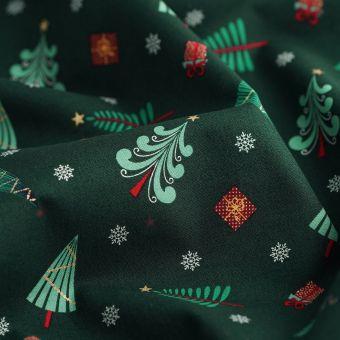 Tissu de Noël cretonne petits sapins