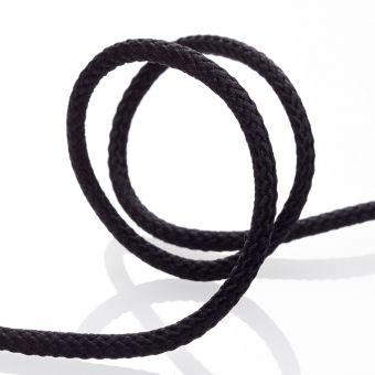 Cordon tressé pour manteau 4mm - Noir
