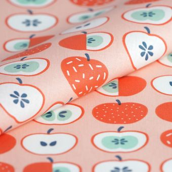 Tissu cretonne enduite rose pommes