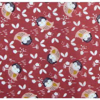Cretonne coton à motifs hiboux kidia rose