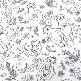 Tissu à colorier : cretonne coton blanc à motifs petites loutres