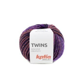 Pelote de fil à tricoter Katia Twins rose violet kaki