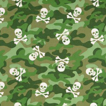 Tissu popeline de coton camouflage et skull vert