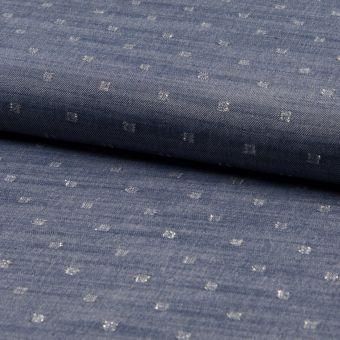Tissu jacquard en viscose couleur denim à motif points en lurex argent
