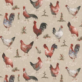 Tissu bachette effet lin motifs poules