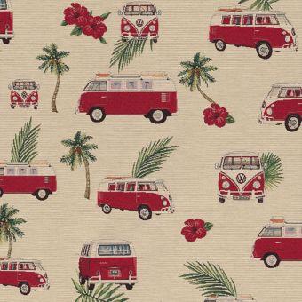 Tissu Jacquard Gobelin motifs vans et palmiers
