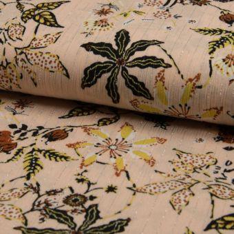 Tissu crêpe viscose écru brillants à motifs fleurs