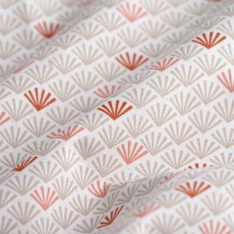 Tissu cretonne éventails rose