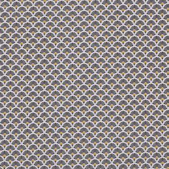 Tissu coton imprimé japonais éventails noir