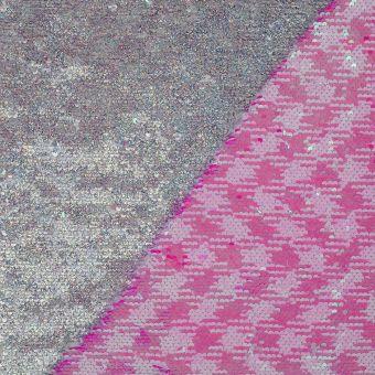 Tissu sequin réversibles argent et rose
