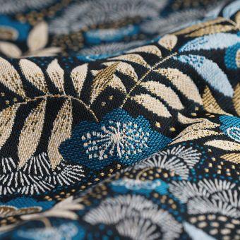 Tissu jacquard Yuzu bleu canard