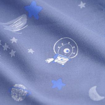 Tissu Molleton coton galaxie bleu