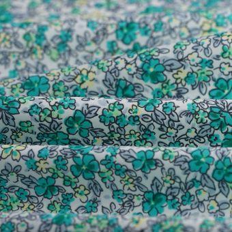 Tissu popeline coton fleurs bleues