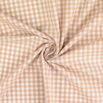 Tissu coton Vichy carreaux beige