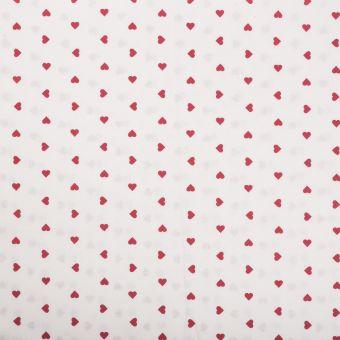Tissu coton cœurs rouge