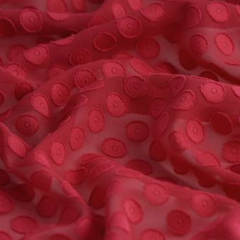 Tissu voile polyester rouge pois
