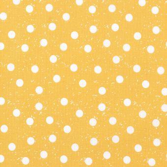 Tissu cretonne jaune à pois blancs