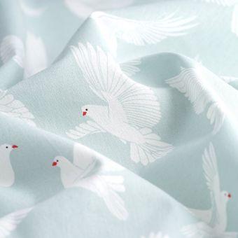 Tissu cretonne bleu céladon colombes
