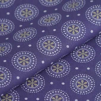 Tissu popeline coton rond point marine