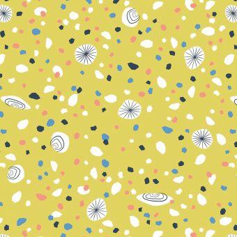 Tissus popeline de coton Dashwood motifs cailloux jaune