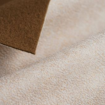 Tissu suédine feuille or écru