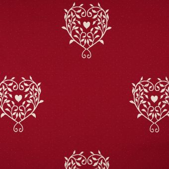 Tissu jacquard cœur Allover rouge grande largeur