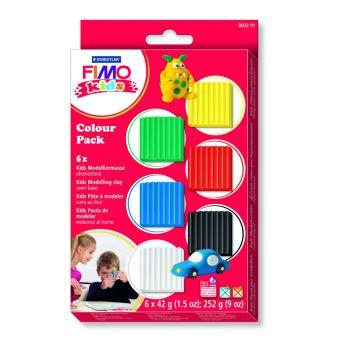 Kit pate fimo kids 6 couleurs basiques