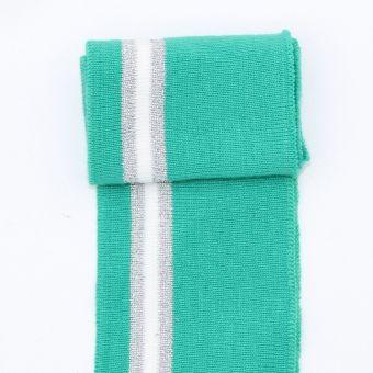 Bord côte et bas de blouson vert menthe argenté