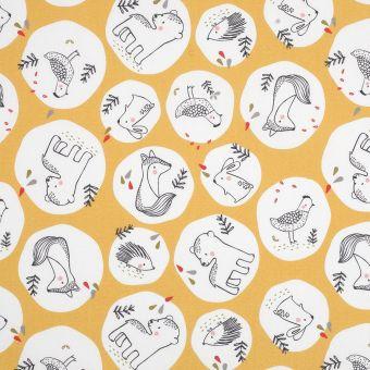 Tissu coton jaune animaux forêt