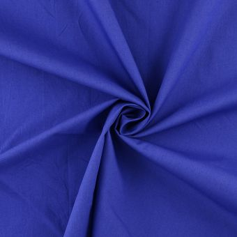 Tissu popeline de coton bio bleu vif