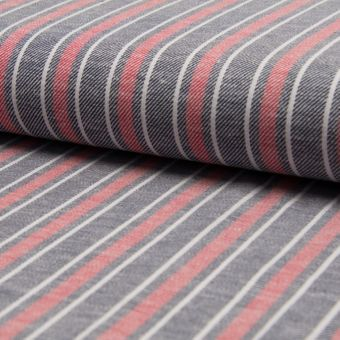 Tissu twill coton lin viscose à rayures rose et gris