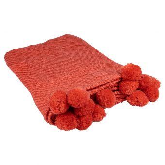 Plaid pompons rouge