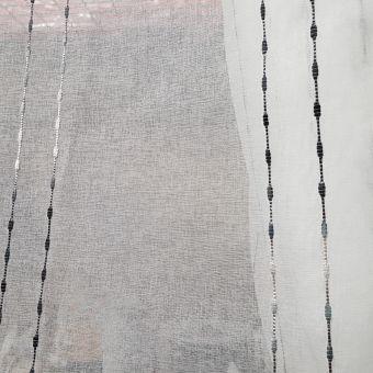 Tissu voile brodé pointillés noir - Non plombé