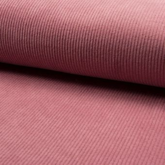 Tissu velours milleraies vieux rose