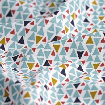 Tissu coton triangles verts