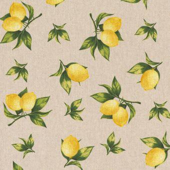 Tissu coton épais citrons jaune