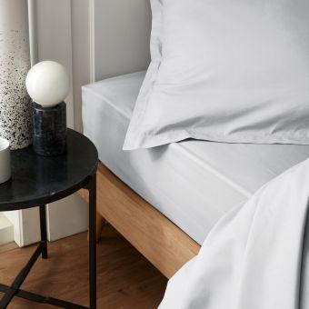 Drap housse percale blanc 160 x 200 cm