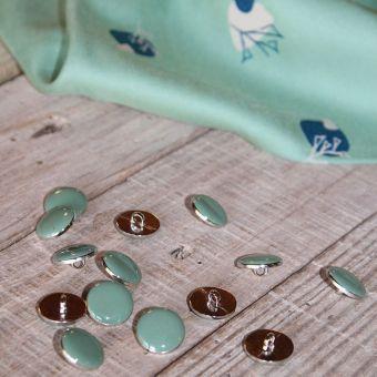Lot de 5 boutons chic vert amande 15 mm
