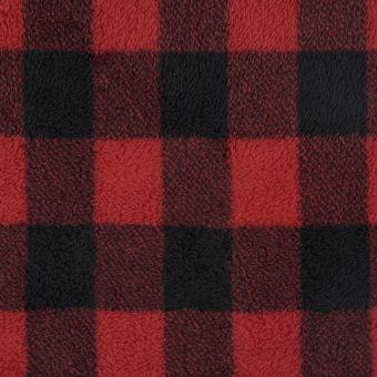 Tissu polaire carreaux rouge et noir