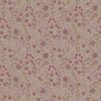 Tissu bachette effet lin motifs de fleurs sauvages