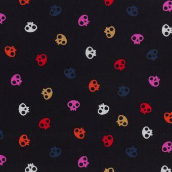 Tissu popeline de coton noir petites têtes de mort colorées Dashwood Studio