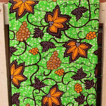 Tissu wax motifs feuille de vigne orange
