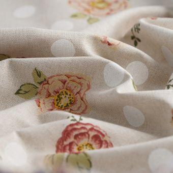 Tissu coton épais beige fleurs pois