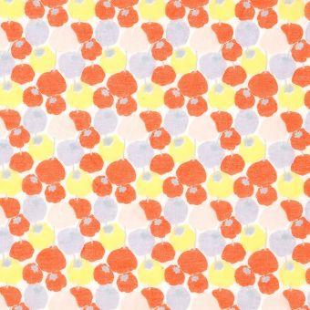 Tissu voile de coton pastilles orange et jaune