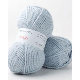 Pelote de fil à tricoter Phildar Looping azur
