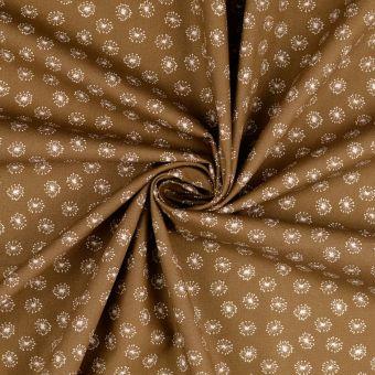 Tissu popeline de coton marron à motifs pissenlits