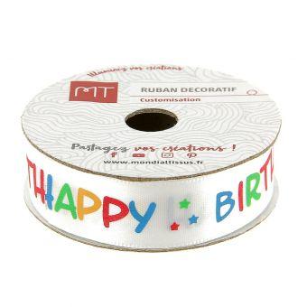 "Bobine ruban satin ""Happy Birthday"" 16 mm"