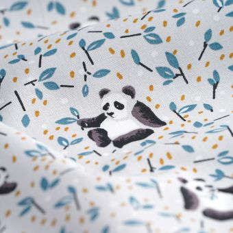 Tissu cretonne gris Tao pandas