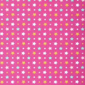 Tissu PUL pour couches lavables imprimé étoile framboise