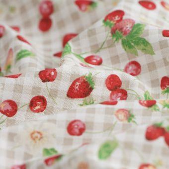 Tissus coton fruits rouges lin